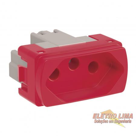 Modulo Tomada 2P+T 20A Vermelha - Cod 8052 - Miluz -  Schneider